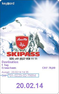 Skiline - Skipass eingeben für Saas-Fee