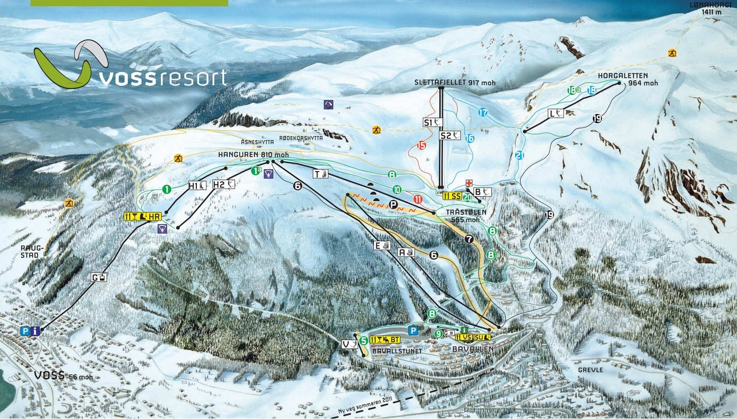 Skiline General Info About Ski Resort Voss Resort AS - Norway map voss